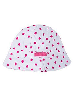 Girls sun hat with a pretty pink bow