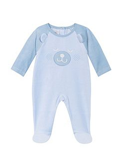 Babies sleepsuit in supple velours fabric