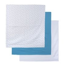 Absorba Set of 3 Blue Baby Swaddling Cloths