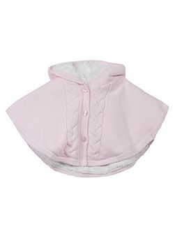Baby Girls Hooded Cable-Knit Cape