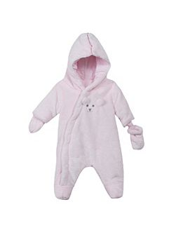 Baby Hooded Faux-Fur Sleepsuit
