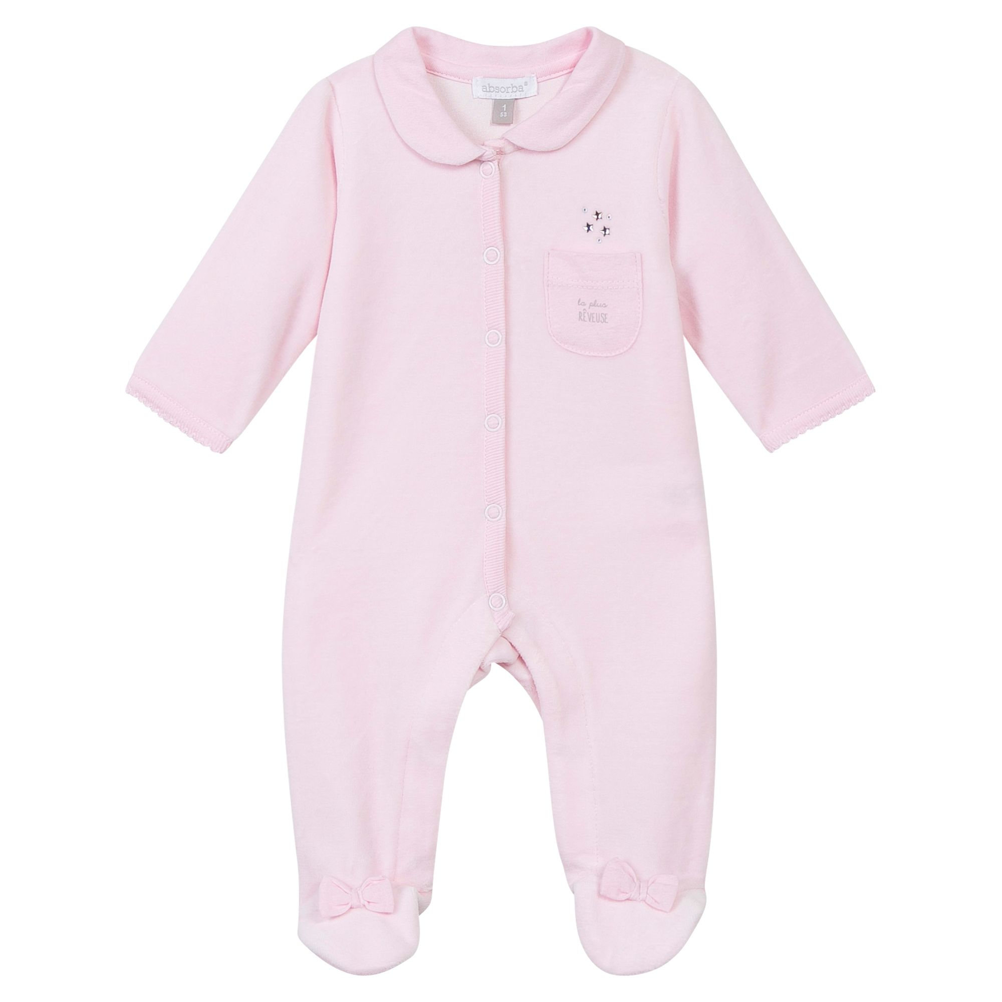 Absorba Absorba Baby Girls Bow Embroidered Sleepsuit, Pink