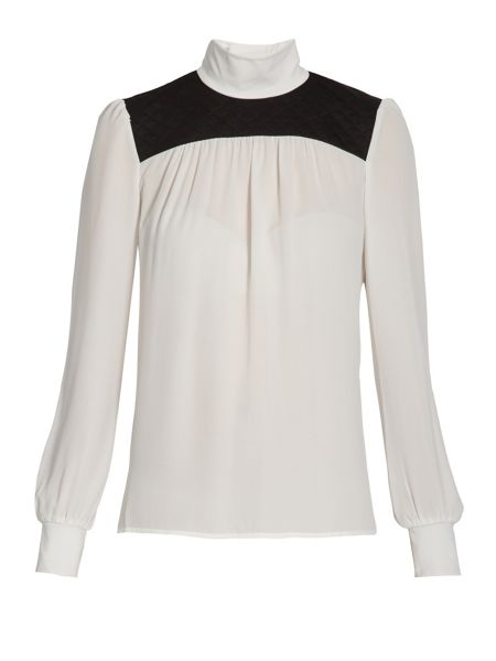 Morgan High-neck blouse with quilted detail