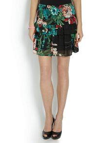 Morgan Layered mini-skirt with floral print