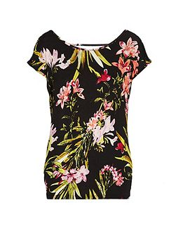 Bold floral print t-shirt with open back