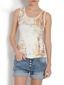 Graphic print fitted tank top