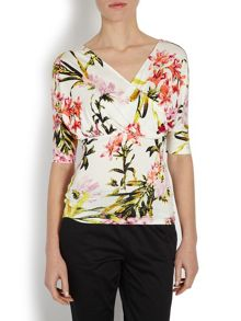 Morgan Bold floral print mid sleeved wrap top