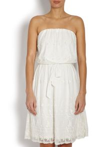 Morgan Strapless Bandeau Dress With Waist Tie
