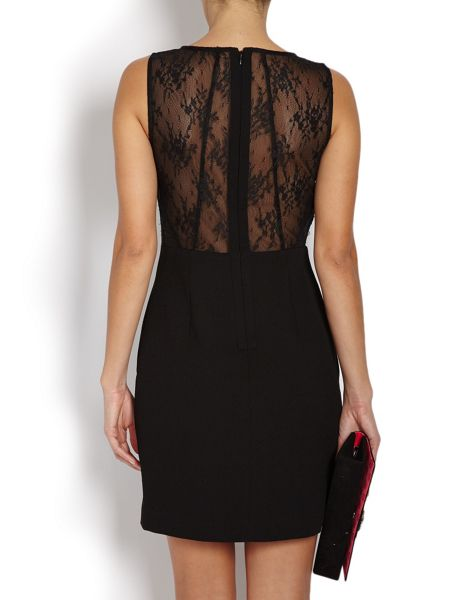 Morgan Fitted mini dress with lace detail on back