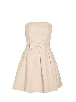 Bandeau Party Dress With Bow On Waist