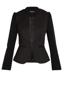 Collarless black blazer with peplum hem