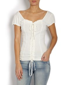 Short-sleeve top with corset detail