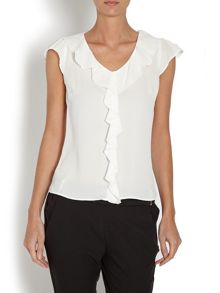 Short-sleeved top with ruffled collar