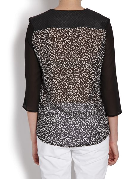 Morgan Patterned Top With Plain Sleeves