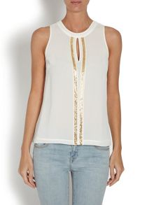 Sleeveless top with front sequin detail