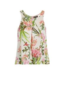 Draped top with floral patterning