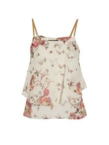 Strappy layered top with bird print