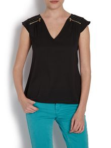 Loose-fit top with zipped detail