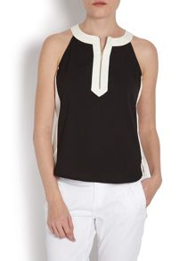 Sleeveless top with contrasting collar