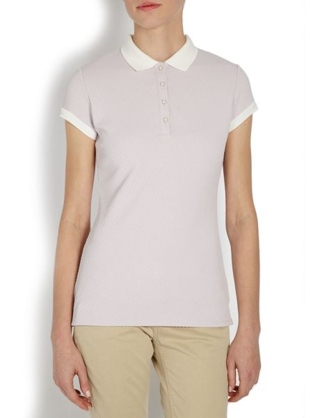 Morgan Collar t-shirt with pearl buttons