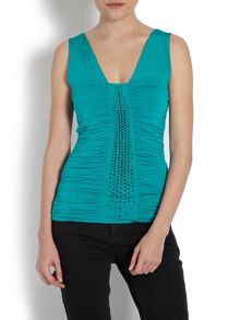 Ruched vest top with diamante detail