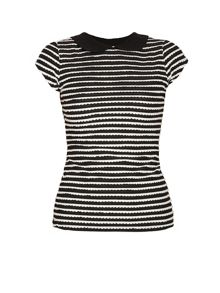 Morgan Black and white frill striped t-shirt