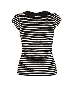 Black and white frill striped t-shirt