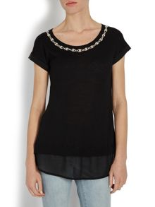 Morgan Diamante scoop neck sweater