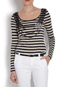 Striped top with beaded front detailing