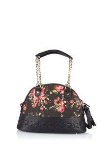Floral handbag with contrasting fabric