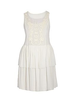 Babydoll-style dress with lace overlay