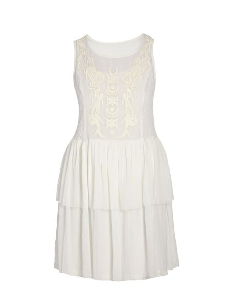 Morgan Babydoll-style dress with lace overlay