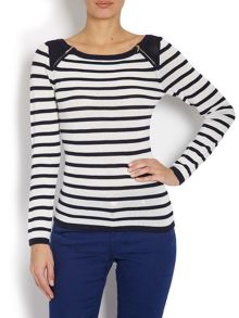 Striped sweater with zip design