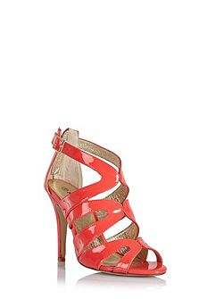 Strappy high-heeled sandals with buckles