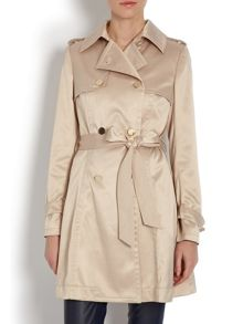 Silky-look trench coat with waist tie