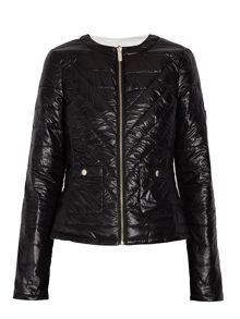 Quilted down jacket with stitched detail