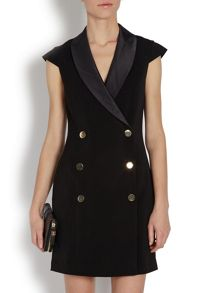 Tuxedo style mini dress with buttons