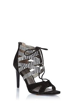 Strappy sandals with front lace tie