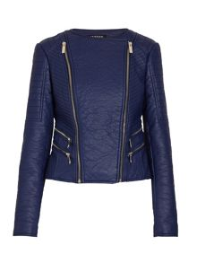 Biker-style jacket with zipped detail