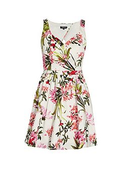 Bold flower print mini dress