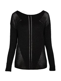 Long sleeved sweater with triangular cut-out deta