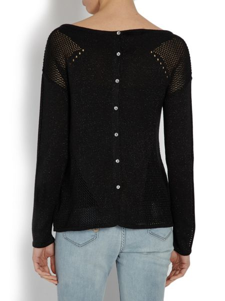 Morgan Long sleeved sweater with triangular cut-out deta