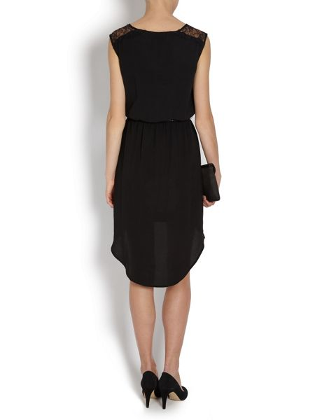 Morgan Black chiffon  mullet dress with belt