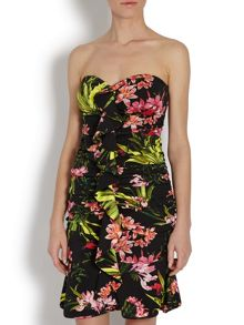 Morgan Floral print peplum hem bandeau dress