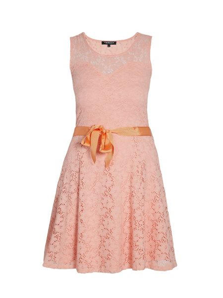 Morgan Lace overlay dress with ribbon tie