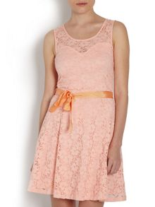 Lace overlay dress with ribbon tie