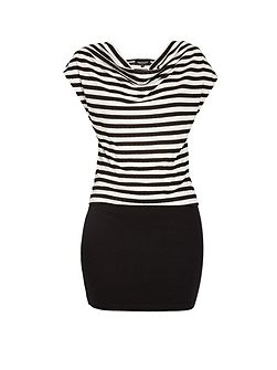 Scoop neck striped fitted mini dress
