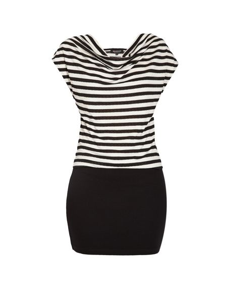Morgan Scoop neck striped fitted mini dress