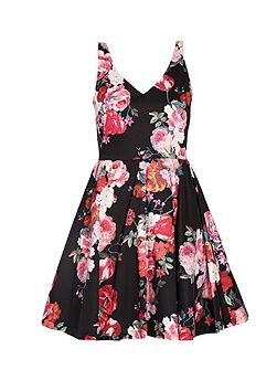 Bold floral print sleeveless mini dress