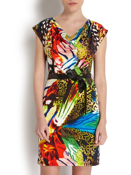 Morgan Vibrant short-sleeved dress with belt